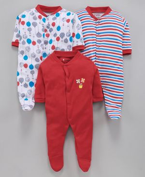 BUMZEE Pack Of 3 Balloon Print Full Sleeves Sleep Suit  - Red