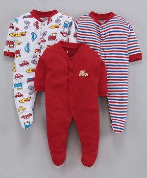BUMZEE Pack Of 3 Car Print Full Sleeves Sleep Suit - Red