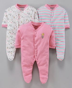 BUMZEE Pack Of 3 Animal Print Full Sleeves Sleep Suit - Pink