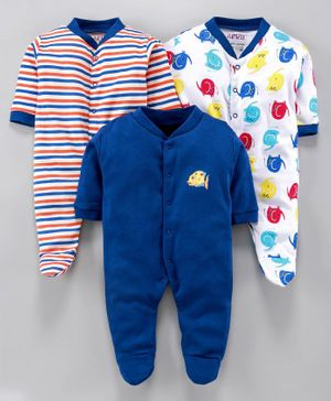 BUMZEE Pack Of 3 Elephant Print Full Sleeves Sleep Suit - Blue