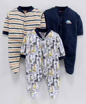 BUMZEE Pack Of 3 Giraffe Print Full Sleeves Sleep Suit  - Navy Blue