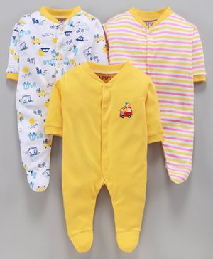 BUMZEE Pack Of 3 Car Print Full Sleeves Sleep Suits - Yellow