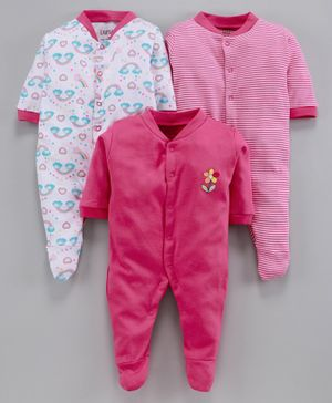 BUMZEE Pack Of 3 Rainbow Print Full Sleeves Sleep Suit - Pink