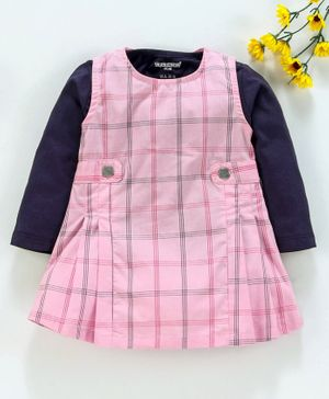 Cucumber Checks Frock With Full Sleeves Tee  - Navy Pink