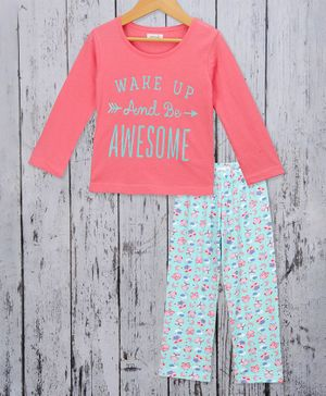 Sheer Love Wake Up And Be Awesome Print Full Sleeves Night Suit - Pink