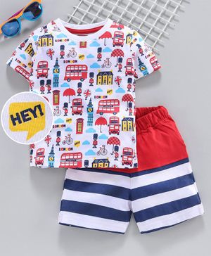 Babyhug Half Sleeves Tee with Striped Shorts Bus Print - White Red