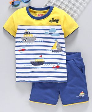 Babyhug Half Sleeves Tee with Shorts - Yellow White Blue