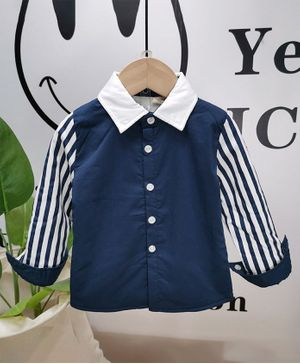 Pre Order - Awabox Striped Front Button Full Sleeves Shirt - Blue