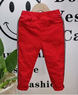 Pre Order - Awabox Front Pocket Full Length Side Striped Elasticated Jeans - Red