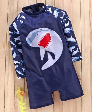 Babyhug Full Sleeves Legged Swimsuit Shark Print - Navy Blue