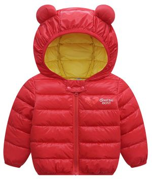 Awabox Ear Patch Full Sleeves Hooded Jacket - Red
