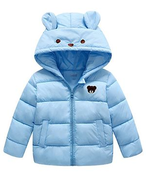 Awabox Bear Patch Full Sleeves Hooded Jacket - Light Blue