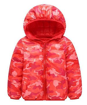 Awabox Camouflage Print Reversible Full Sleeves Hooded Jacket - Red