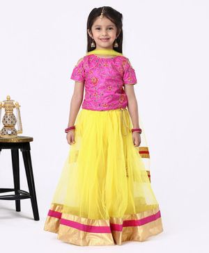 The KidShop Flower Embroidered Half Sleeves Cold Shoulder Choli With Flared Lehenga & Dupatta - Yellow & Pink
