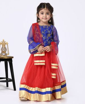 The KidShop Ruffled Full Sleeves Golden Flower Embroidered Choli With Lehenga & Dupatta - Blue & Red
