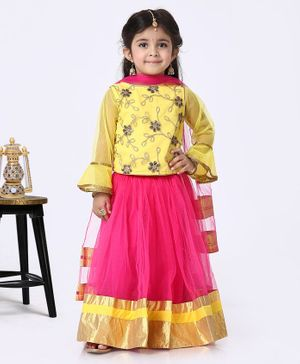 The KidShop Ruffled Full Sleeves Golden Flower Embroidered Choli With Lehenga & Dupatta - Yellow & Pink