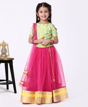 The KidShop Half Sleeves Flower Embroidered Cold Shoulder Choli With Lehenga & Dupatta - Pink & Yellow