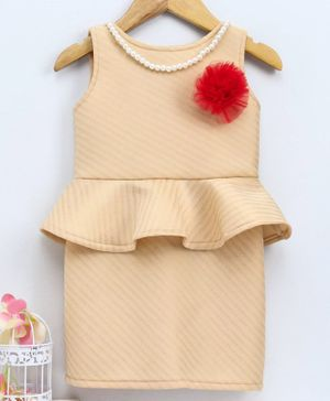 The KidShop Flower Design Sleeveless Peplum Dress With Attached Beaded Necklace - Beige