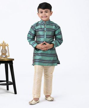 Ridokidz Full Sleeves Striped Kurta & Pajama Set - Sea Green