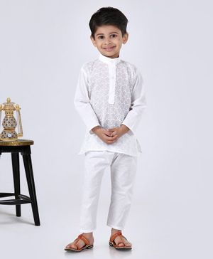 Ridokidz Embroidered Full Sleeves Kurta With Pajama - White