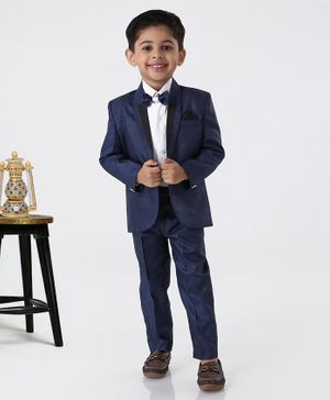 Rikidoos Full Sleeves Solid Three Piece Party Suit With Bow Tie - Dark Blue