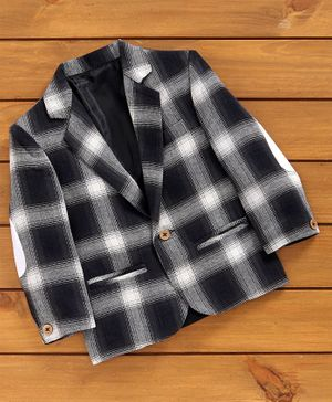 Rikidoos Full Sleeves Checked Blazer - Black