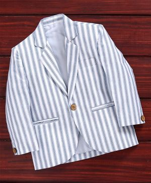 Rikidoos Full Sleeves Striped Blazer - Light Blue