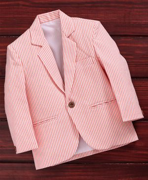 Rikidoos Full Sleeves Striped Blazer - Pink
