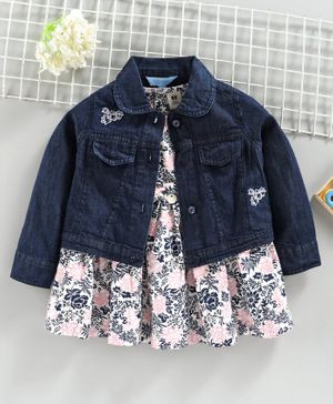 ToffyHouse Frock With Denim Jacket Floral Print - Navy