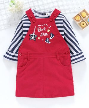 ToffyHouse Dungaree Style Corduroy Frock With Bell Sleeves Striped Tee Rock Star Patch - Red