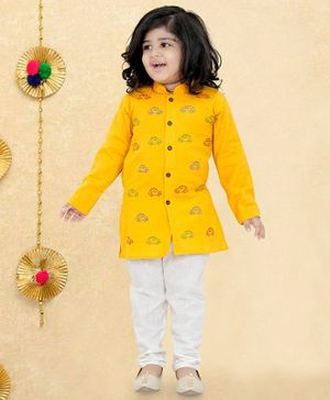 LIL PITAARA Car Embroidered Full Sleeves Kurta With Pyjama - Yellow