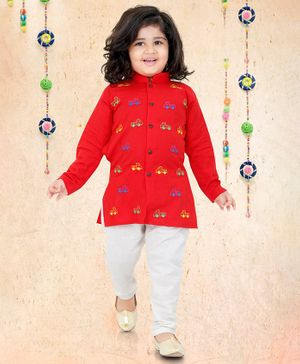 LIL PITAARA Truck Embroidered Full Sleeves Kurta With Pyjama - Red