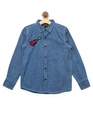 Nick&Jess Denim Guitar Embroidered Full Sleeves Shirt - Blue