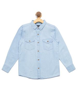 Nick&Jess Front Pocket Full Sleeves Shirt - Blue