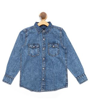 Nick&Jess Solid Full Sleeves Denim Shirt - Blue