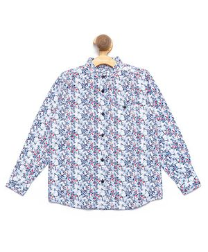 Nick&Jess Flower Printed Front Button Full Sleeves Shirt - White