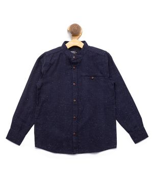 Nick&Jess Solid Front Pocket Full Sleeves Shirt - Blue