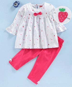 Babyhug Full Sleeves Cotton Night Suit Strawberry Print - White Fuchsia