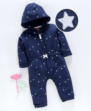 Babyhug Full Sleeves 100% Cotton Sleep Suit Star Print - Blue