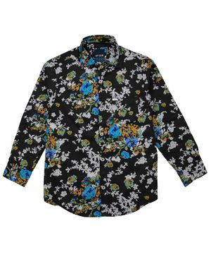 UF Club Floral Printed Front Button Full Sleeves Shirt - Black