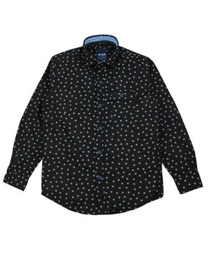 UF Club Dots Printed Full Sleeves Shirt - Black