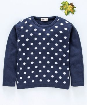 Simply 100% Cotton Full Sleeves Sweater - Navy Blue