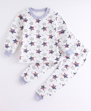 Pre Order - Awabox Star Print Full Sleeves Night Suit - White