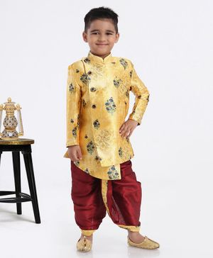 Ethnik's Neu-Ron Full Sleeves Sherwani With Dhoti  Floral Jacquard Design - Golden