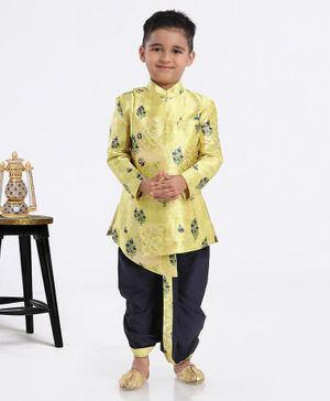 Ethnik's Neu-Ron Full Sleeves Sherwani With Dhoti Floral Jacquard Design - Green