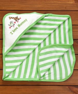 Pink Rabbit Stripe Print Hooded Wrapper - Green