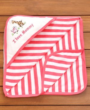 Pink Rabbit Stripe Print Hooded Wrapper - Red