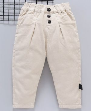 Kookie Kids Full Length Solid Color Trousers - Cream