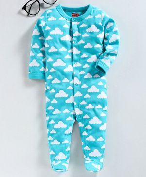 Babyhug 100% Cotton Full Sleeves Footed Sleepsuit Cloud Print - Blue