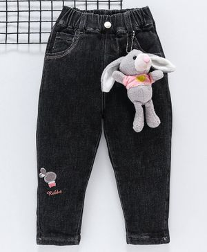 Kookie Kids Full Length Jeans Rabbit Embroidery - Black Pink